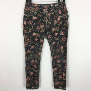 Miss Me Jeans Women's Size 27 Black Floral Ankle S